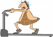pic of caveman  - This illustration depicts a caveman walking on an exercise treadmill - JPG
