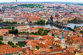 picture of red roof tile  - Tourism and sightseeing view from above over Prague cityscape - JPG
