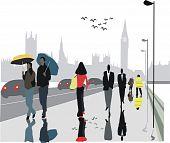 London pedestrians in rain illustration