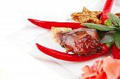 Roast Beef Chunks On Plate