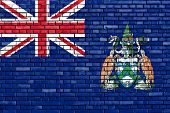 pic of ascension  - flag of Ascension Island painted on brick wall - JPG