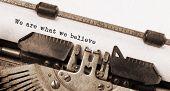 image of old vintage typewriter  - Vintage typewriter old rusty and used We are what we believe - JPG