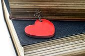 picture of crucifix  - Red heart with Crucifix  and the bible book - JPG
