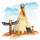 pic of wigwams  - Illustration of the North American Indian tipi home with totem - JPG