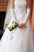 picture of debonair  - bride wearing wedding dress and holding bouquet  - JPG