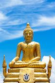 picture of budha  - View at the Phuket Golden Big Budha in Thailand - JPG