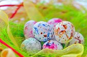 stock photo of easter candy  - colorful speckled candy easter eggs - JPG