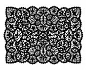 pic of doilies  - Black lace doily rectangular shape on a white background - JPG