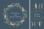 image of feathers  - Beautiful round frame with feathers and some floral elements - JPG