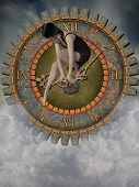 picture of steampunk  - steampunk clock in the sky with sad woman - JPG