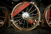 picture of train-wheel  - Wheels of an old train closeup photo - JPG