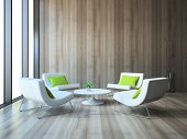 picture of niche  - Modern interior with four armchairs and coffee table 3d rendering - JPG