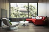 pic of sofa  - Modern interior with red sofa - JPG