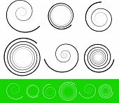 image of hypnotizing  - Eps 10 Vector Illustration of Vector spiral set with 6 different version with stroke profile - JPG