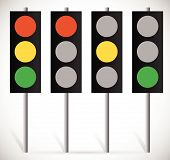 stock photo of traffic signal  - Eps 10 Vector Illustration of Traffic Lights Lamps or Traffic Signals set - JPG