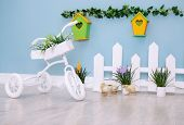 picture of tricycle  - Small white tricycle with flowers kids interior