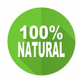 picture of 100 percent  - natural green flat icon 100 percent natural sign - JPG