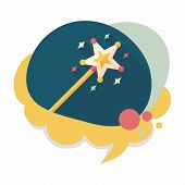picture of magic-wand  - Magic Wand Flat Icon With Long Shadow - JPG
