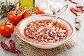 pic of chili peppers  - Soup with red bean and chili pepper - JPG