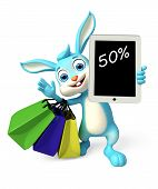 image of meals wheels  - 3d Illustration of Easter Bunny character with shopping bag and discount sign - JPG