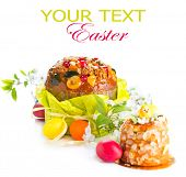 image of pasqua  - Easter Cake and colorful painted Eggs - JPG