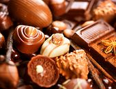 stock photo of bonbon  - Chocolates background - JPG