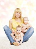 picture of twin baby girls  - Mother and Twins Baby Family Portrait Mom with Little Children Parent and Two Kids Girls - JPG