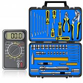 image of  multimeter  - Multimeter of black color and set of different tools in a box vector - JPG