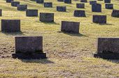 picture of empty tomb  - War cemetery with memorial to soldiers - JPG