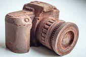 foto of edible  - Edible noname nobrand chocolate camera present for photographer  - JPG