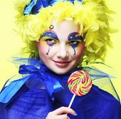 foto of lollipop  - Girl with with creative make - JPG