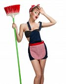 pic of spring-cleaning  - Beautiful maid standing tired after spring cleaning with broom  - JPG