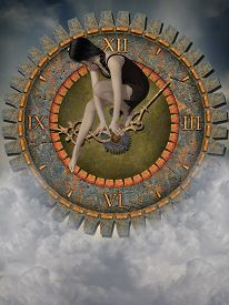 image of steampunk  - steampunk clock in the sky with sad woman - JPG
