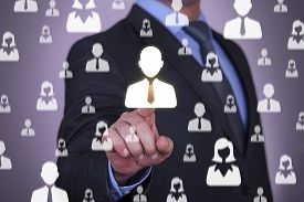 stock photo of unemployed people  - Human Resources Concept on Virtual Screen connection business businessman human hand people - JPG