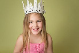 pic of princess crown  - Happy smiling girl wearing a white crown princess pretend play - JPG