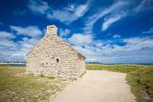 foto of stone house  - stone house and lighthouse at the mouth of the Odet - JPG