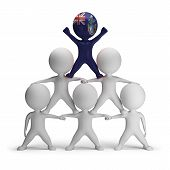 stock photo of human pyramid  - 3d small people standing on each other in the form of a pyramid with  Tristan da Cunha  - JPG