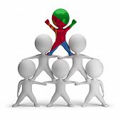 stock photo of human pyramid  - 3d small people standing on each other in the form of a pyramid with the top leader Eritrea - JPG