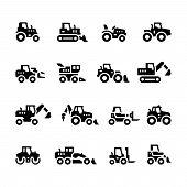 Постер, плакат: Set Icons Of Tractors Farm And Buildings Machines Construction Vehicles