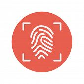 pic of fingerprint  - Fingerprint scanning thin line icon for web and mobile minimalistic flat design - JPG