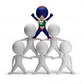stock photo of human pyramid  - 3d small people standing on each other in the form of a pyramid with the top leader St - JPG