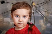 picture of wet t-shirt  - Portrait of little cute girl in red T - JPG