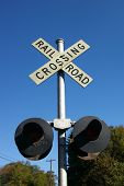 Rural Rail Road Crossing Sign With Lamps
