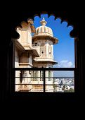 foto of rajasthani  - Balcony in City Palace museum of Udaipur Rajasthan India - JPG
