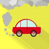 stock photo of polluted  - Red car steaming the exhaust pipe - JPG