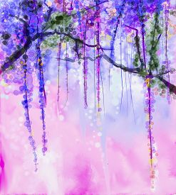 picture of violet flower  - Abstract flowers watercolor painting - JPG