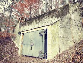 foto of panzer  - Retro filtered picture of a bunker in forest - JPG