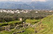 picture of sparta  - Ancient theater and the modern city of Sparta in Greece - JPG