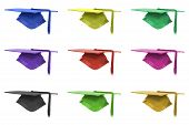 pic of convocation  - Graduation Mortar in different colours isolated over white background - JPG