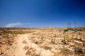 A very dry desert landscape, comino malta